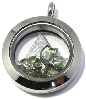 Load image into Gallery viewer, Muonionalusta Meteorite Tumbled Moldavite Floating Locket