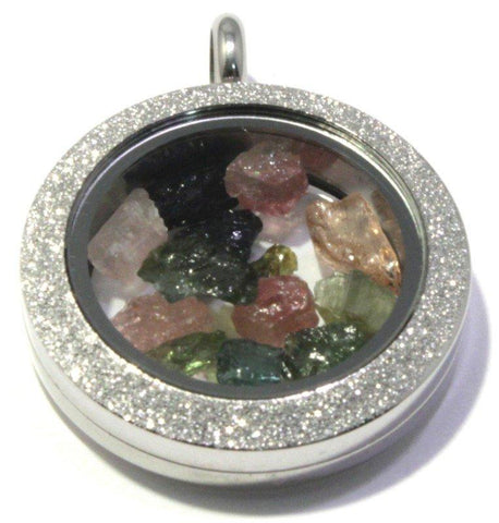 Tumbled Tourmaline Floating Locket Stainless Steel Sparkly Pendant