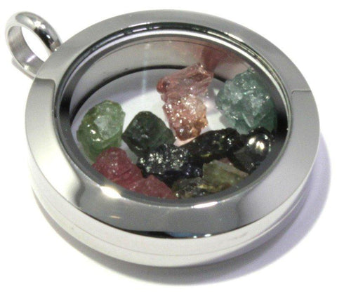 Tumbled Tourmaline Floating Locket Stainless Steel Pendant