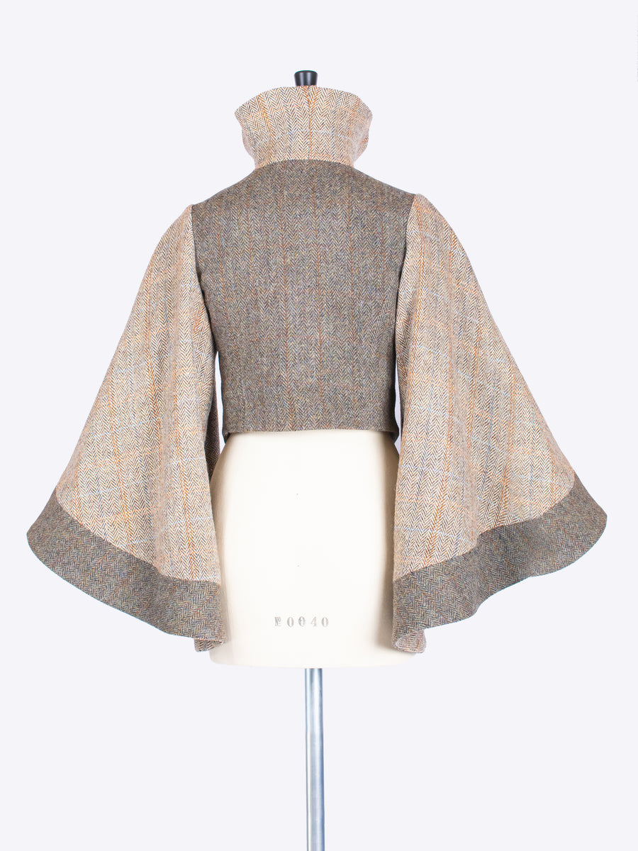 Cape Sleeve Jacket. Moss Green & Beige