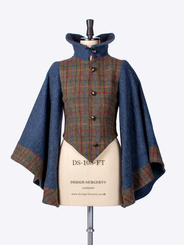 Cape Sleeve Jacket. Green & Navy