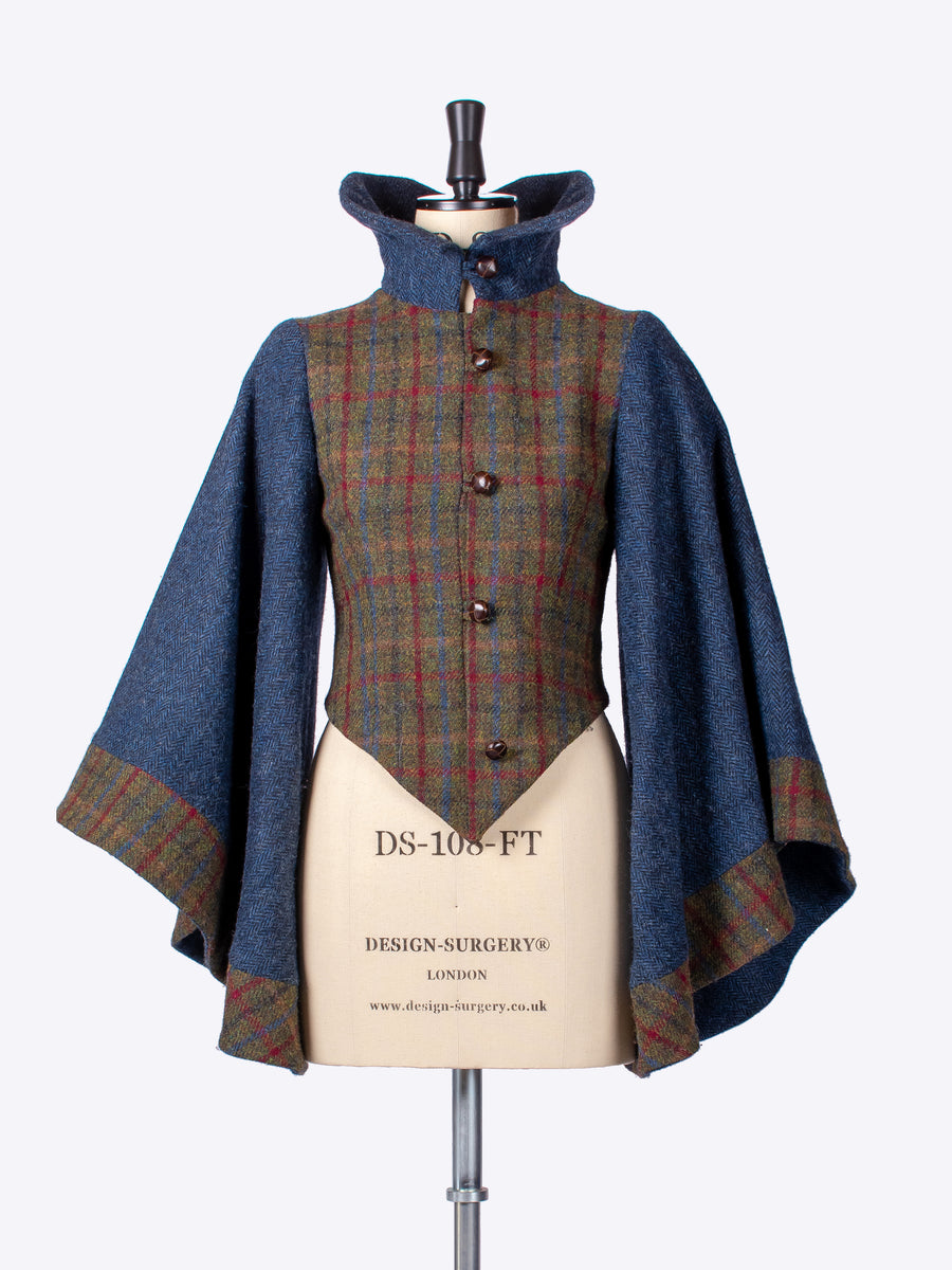 ladies tailoring - Green and navy blue Edwardian style Harris Tweed investment jacket