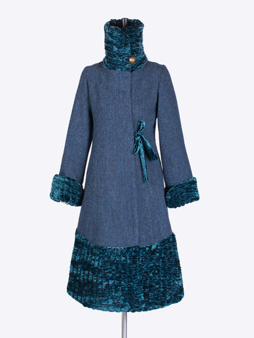 tweed outerwear - 20s style navy blue Harris Tweed coat with a velvet collar