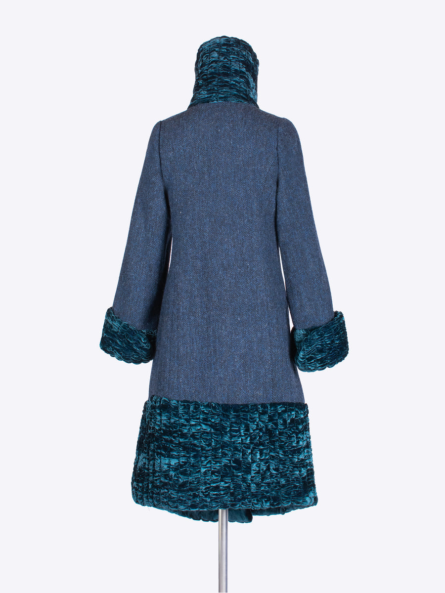 sustainable luxury - tweed and velvet winter investment coat