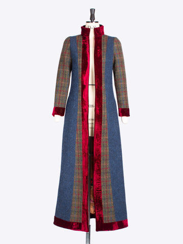 Victoriana - green and navy blue Harris Tweed vintage style ladies tailored coat
