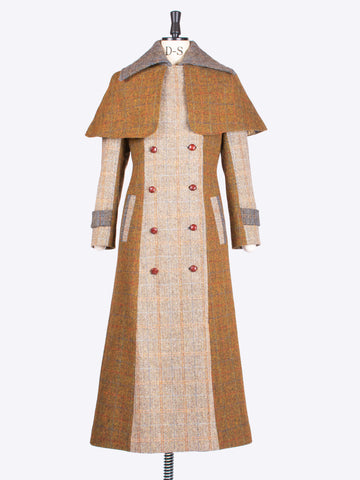 Made in England Harris Tweed Sherlock Holmes style tailored patchwork coat