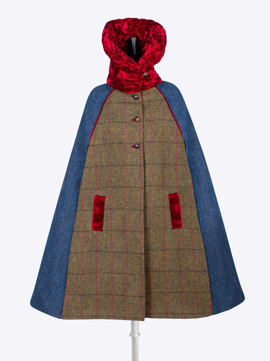Sustainable luxury - Edwardian style British tweed cape with velvet collar