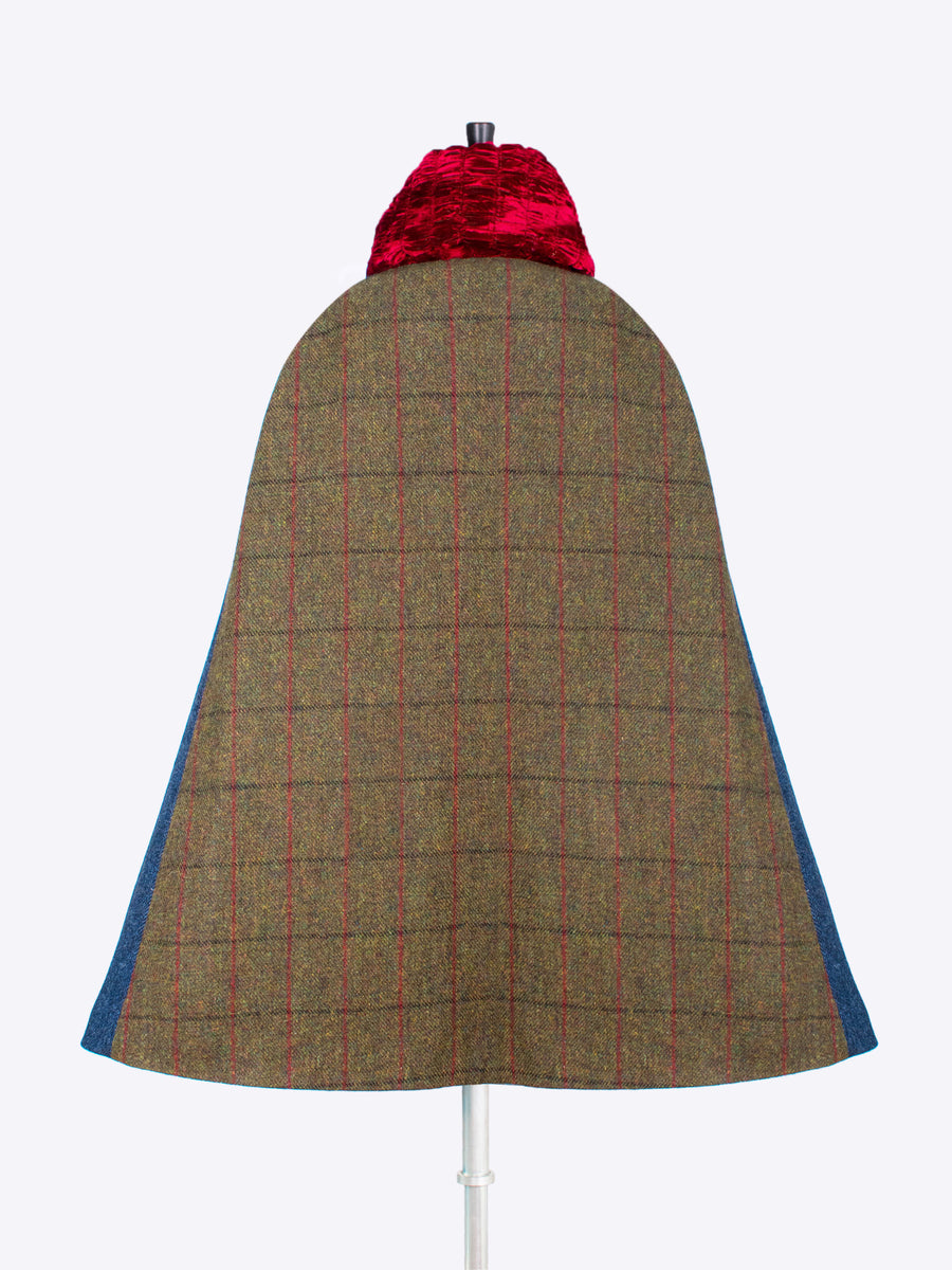 slow fashion - heritage style tweed and velvet long cape