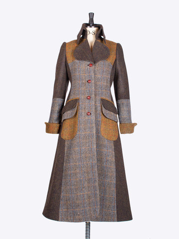 independent fashion label - unique sage chocolate and rust vintage style long patchwork coat