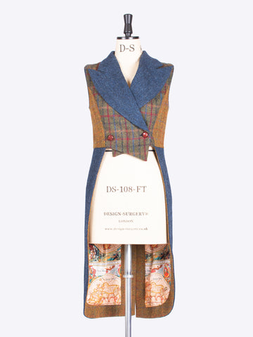 Unique luxury navy blue, green and rust tail waistcoat