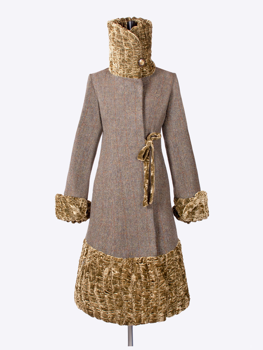 independent fashion label - luxury 20s style moos green Harris Tweed coat made in England