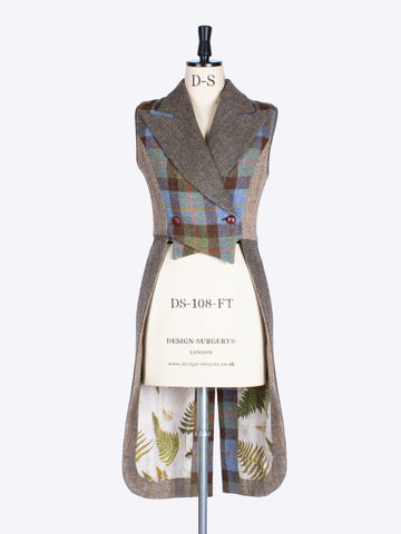 ladies tailoring - MacLeod, moss green and beige Harris Tweed equestrian style waistcoat