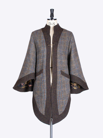 Sage and chocolate slow fashion Harris Tweed luxury jacket