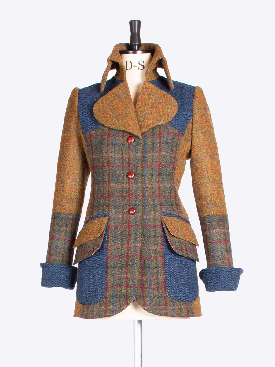 Green, rust and navy made in England Harris Tweed patch jacket
