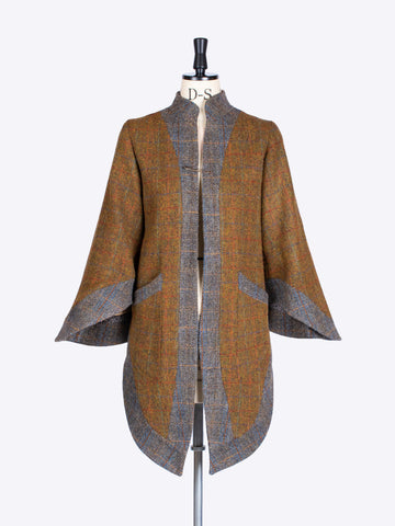 British fashion label - Rust and Sage dramatic Harris Tweed  bell sleeve jacket