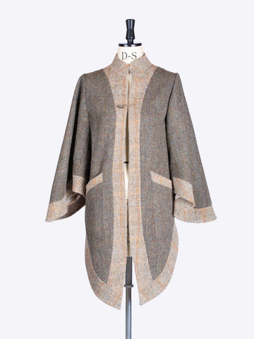 independent fashion label - moss green and beige bell sleeve Harris Tweed victorian jacket