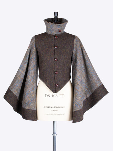 Sustainable luxury - Chocolate and Sage Harris Tweed bell sleeve dramatic jacket