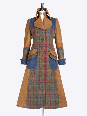 heritage style green, rust and navy Harris Tweed tailored patch coat