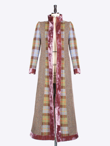 British fashion label - moss green and velvet Harris Tweed vintage style ladies tailored coat