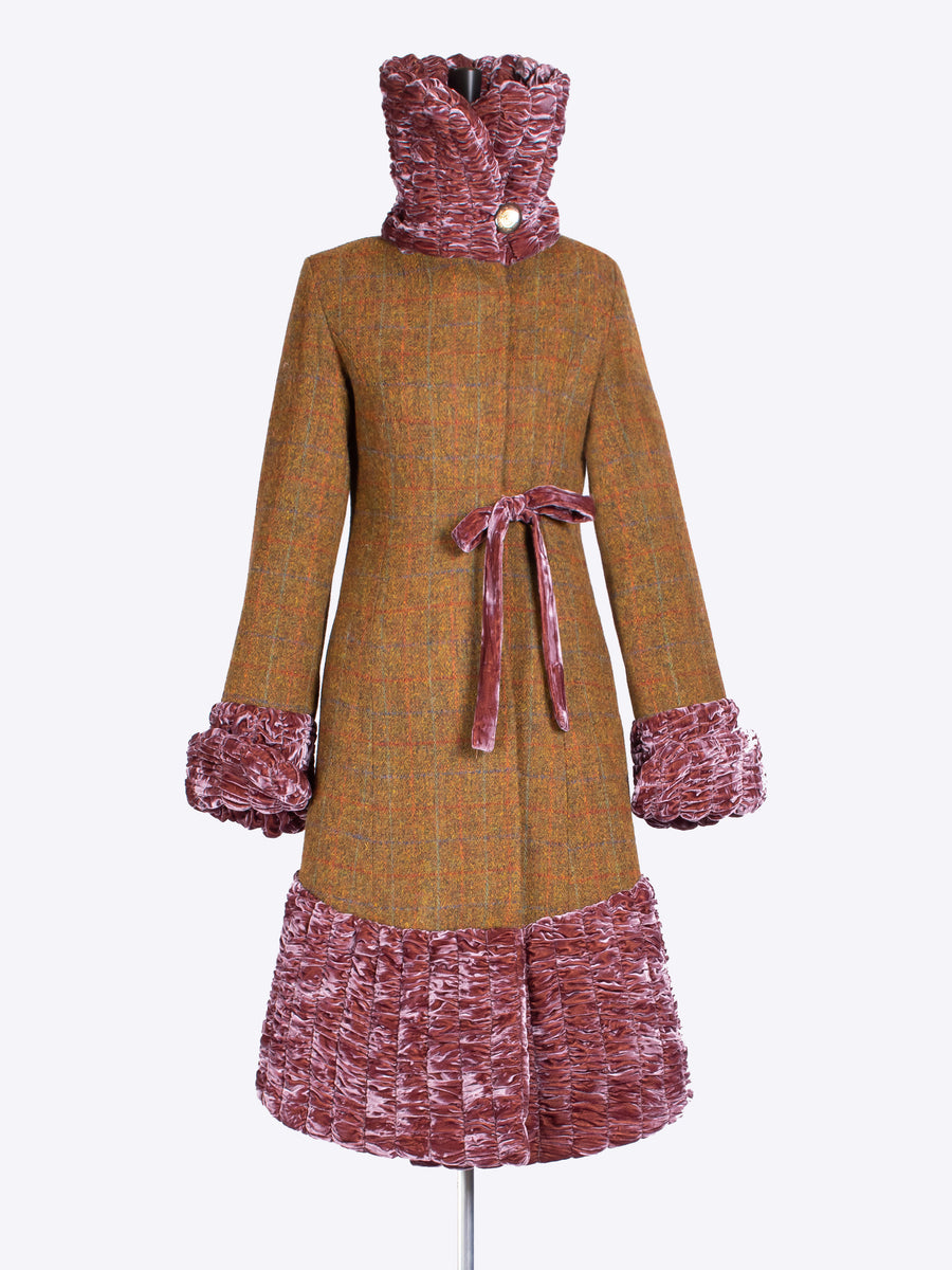 heritage fashion - Rust Harris Tweed 20s style coat with velvet collar
