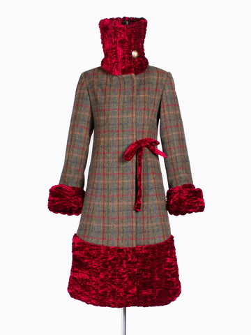 sustainable luxury - Green and red Harris Tweed and velvet 20s coat