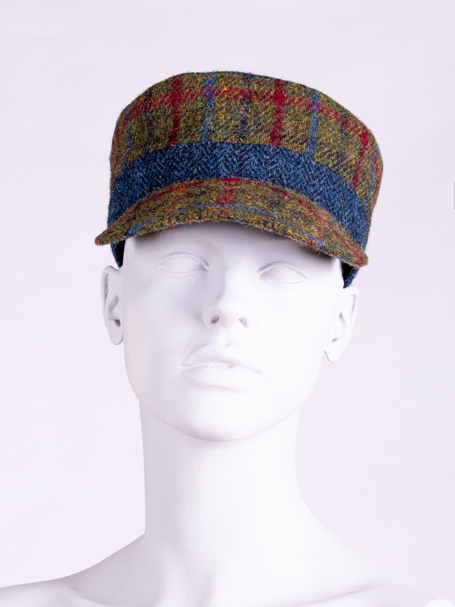 independent fashion label - green and navy Harris Tweed cap