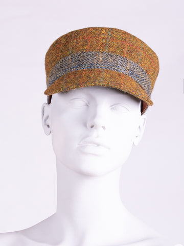 independent fashion label - rust and sage country style Harris Tweed cap