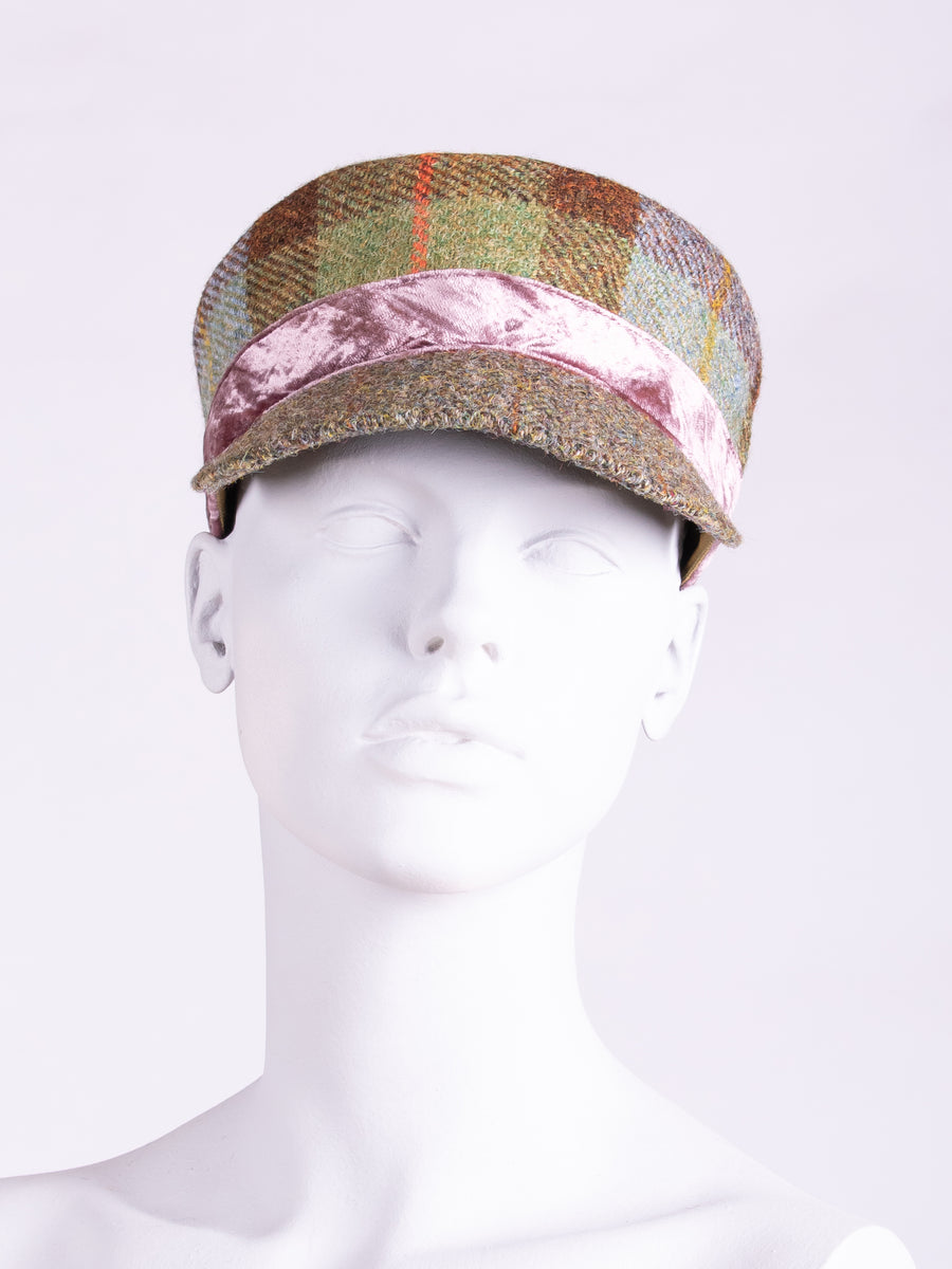Town and Country Cap. MacLeod, Moss Green & Velvet