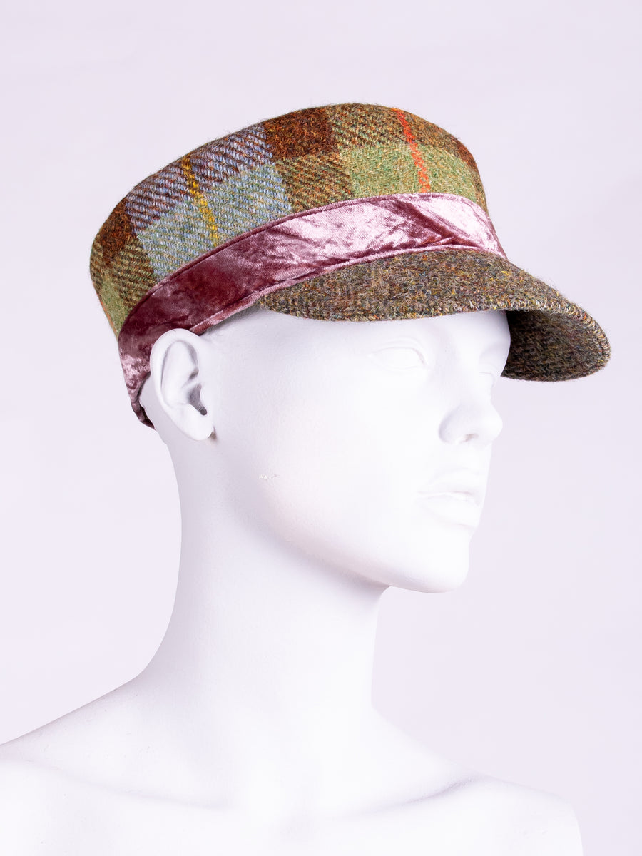 Tweed with a twist - MacLeod, moss green and velvet unisex cap