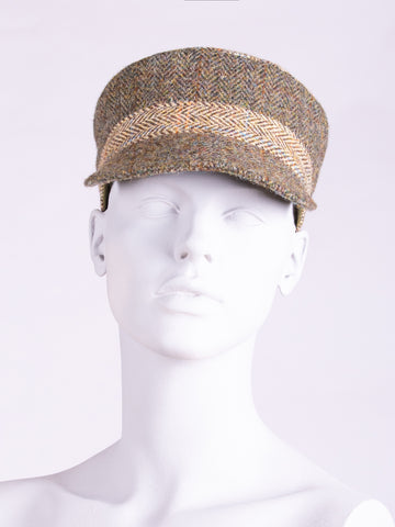 Tweed with a twist - heritage style moss green and beige cap
