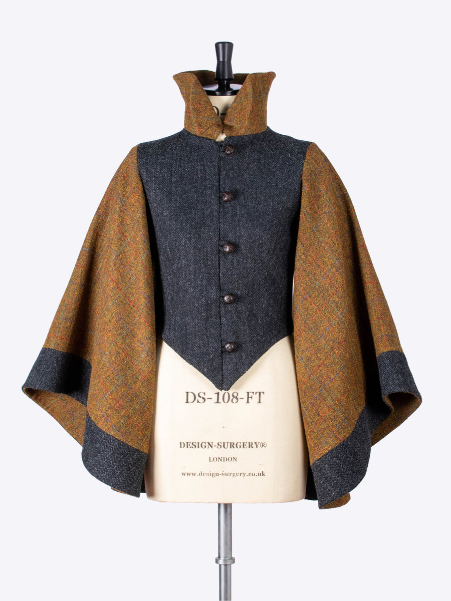 Cape sleeve jacket- harris tweed - made in England