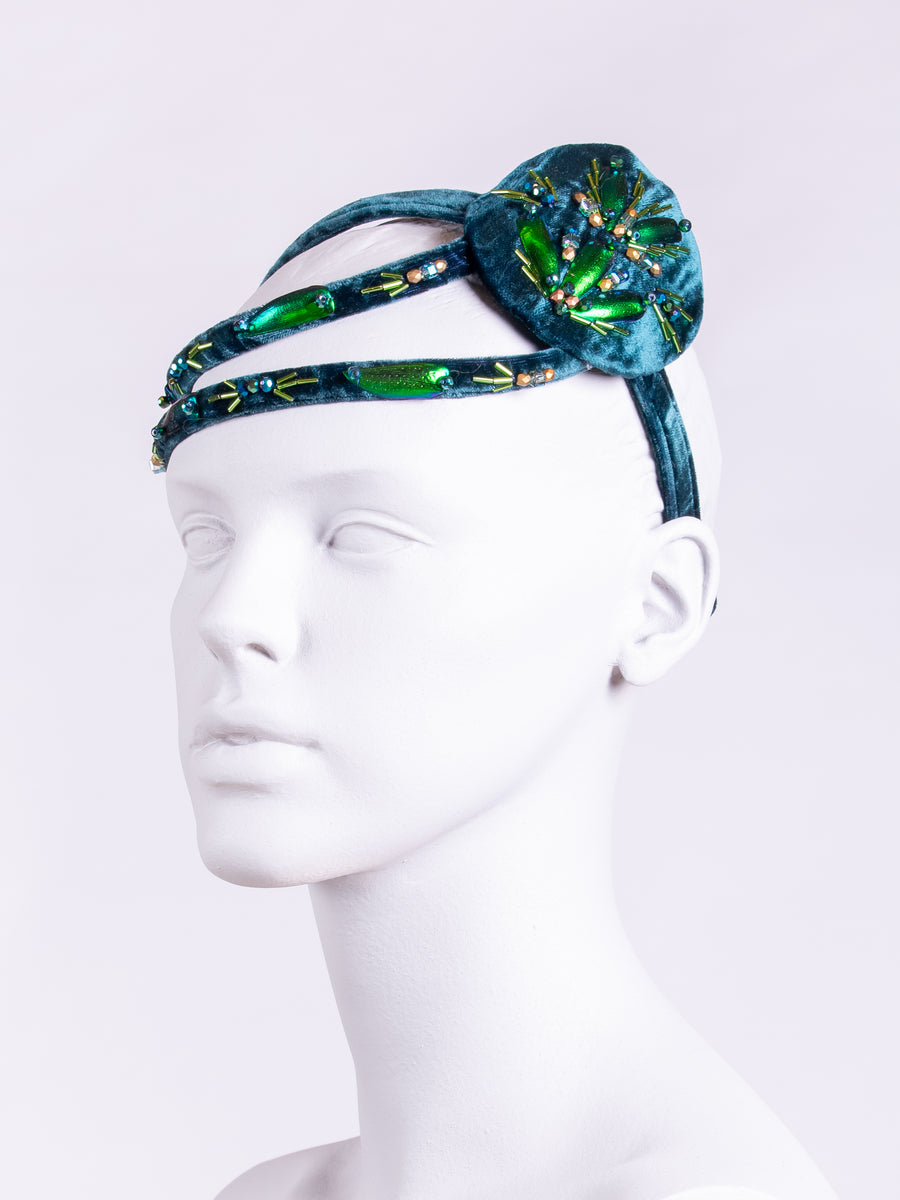 couture millinery - blue velvet hat - beaded headpiece