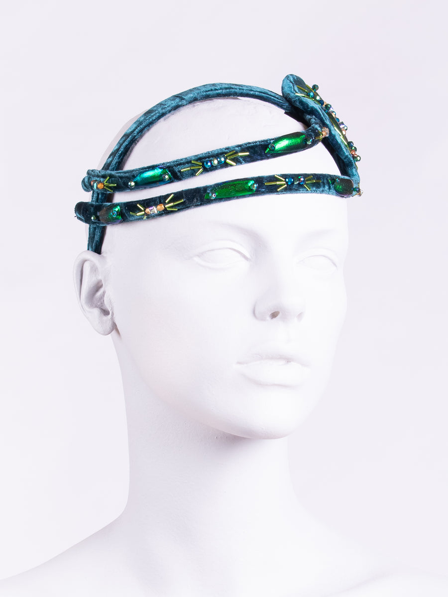 velvet hair accessory - beaded headpiece - blue velvet headband