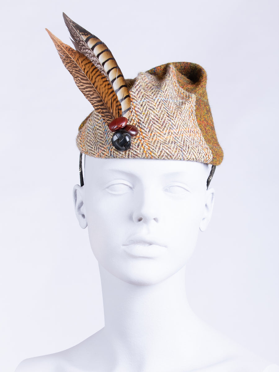 couture millinery - tweed hat with feather