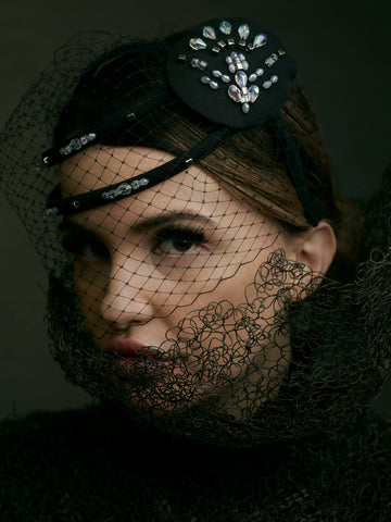 Made in England headwear - little black headpiece with veil