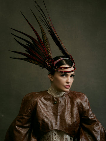 Made in England headwear - unique red feather headpiece