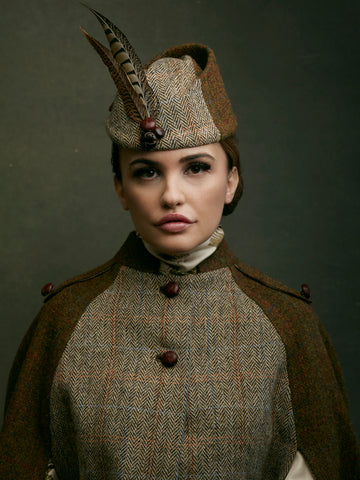 Handmade in England  - Harris Tweed hat with feather