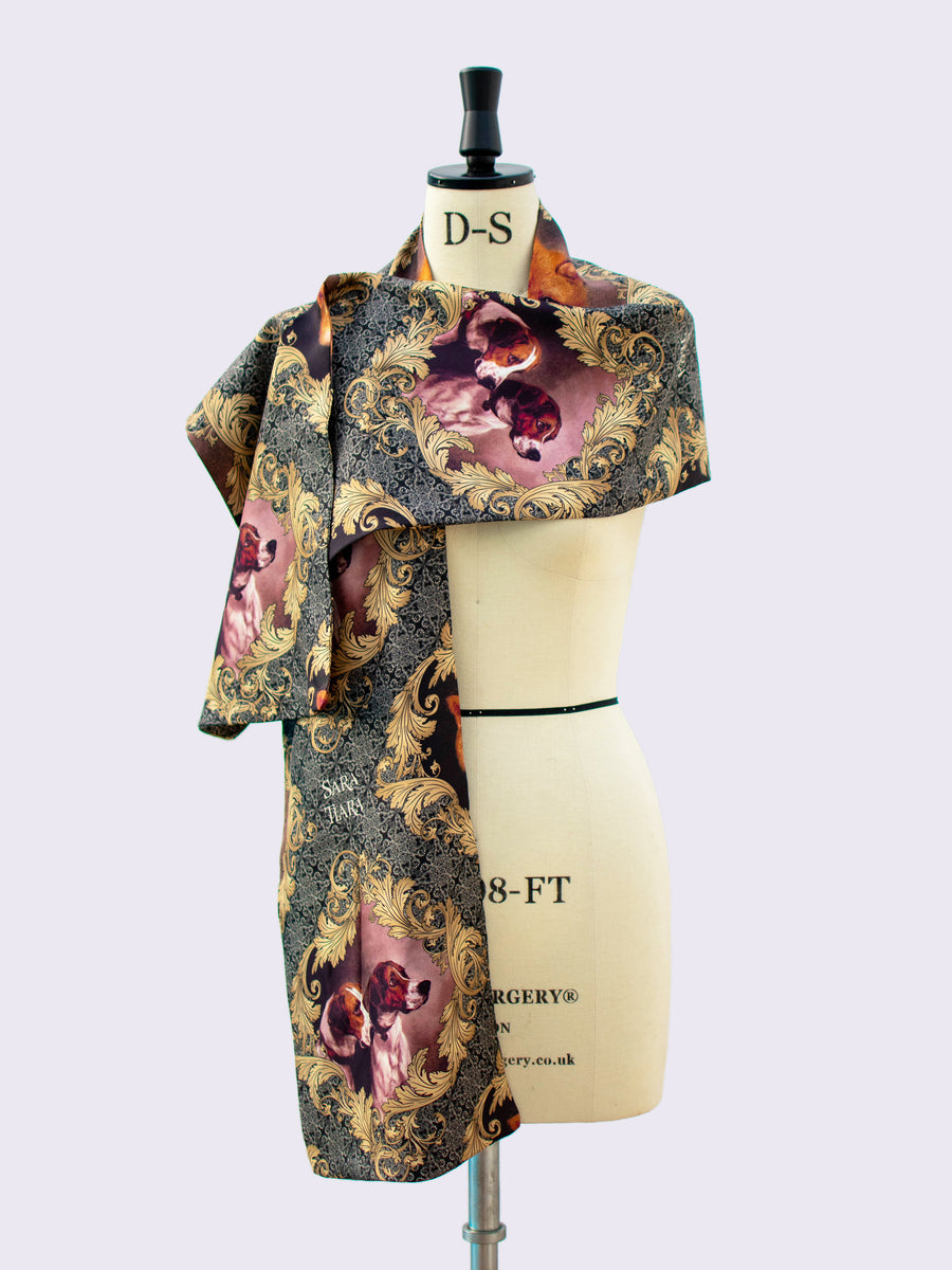 Slow fashion - country style printed silk scarf