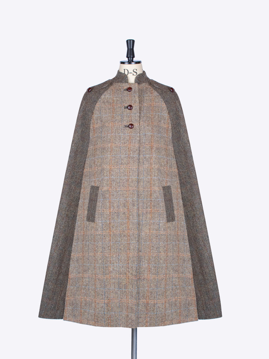 Nehru Long Cape. Beige & Moss Green