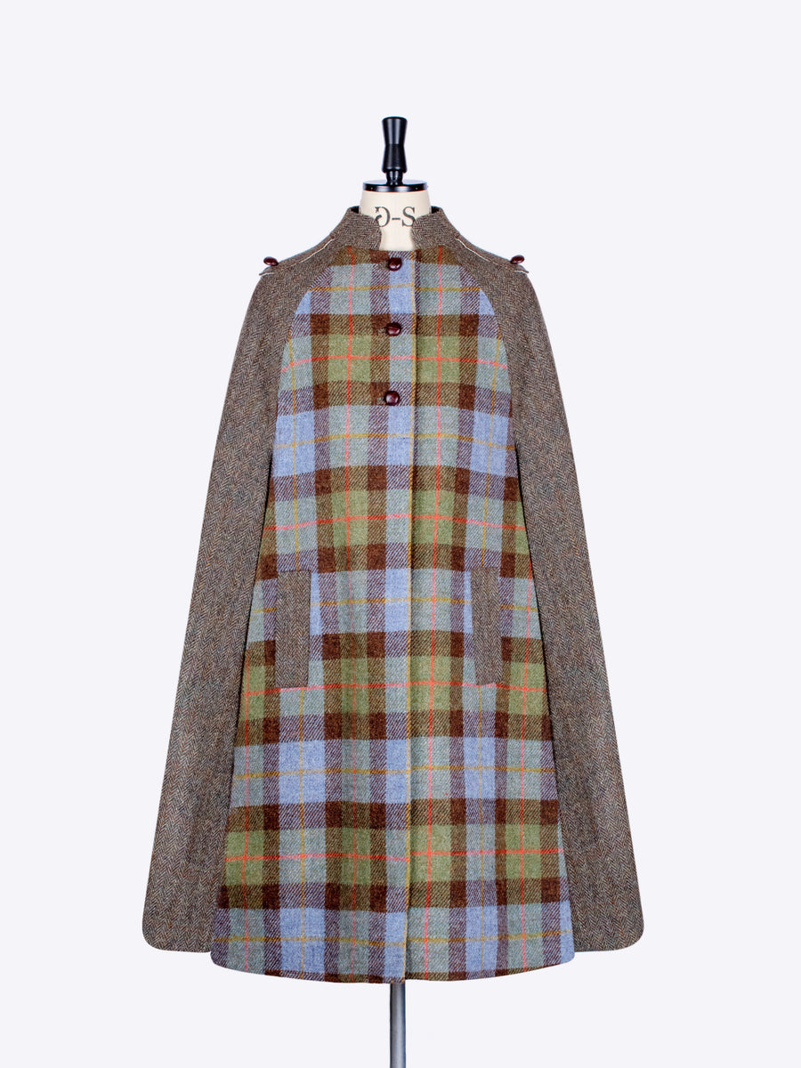 Mcleod and green moss Harris Tweed wool English cape