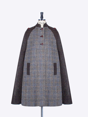 Sage and Chocolate Harris Tweed country Nehru long cape