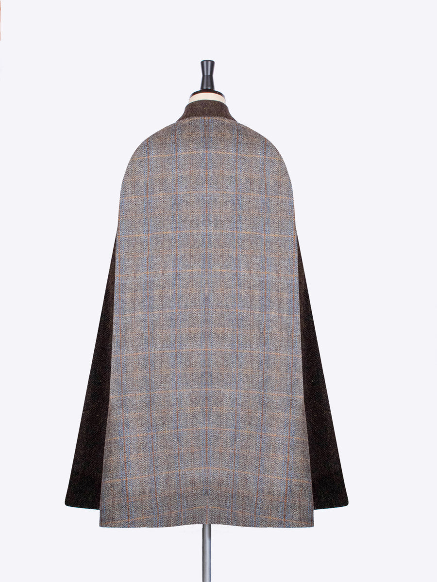 Sage and Chocolate Harris Tweed country ladies long cape