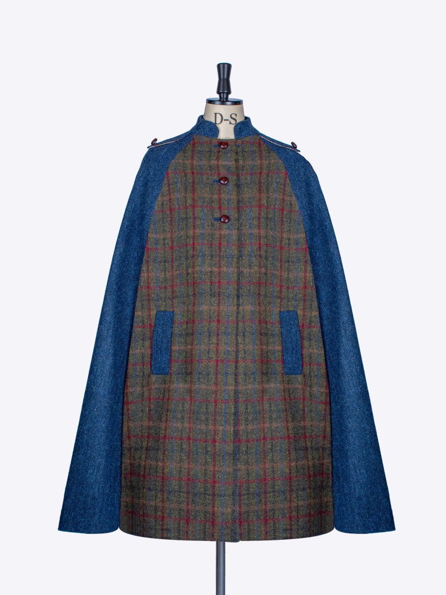 Green and navy blue Harris Tweed winter Nehru long cape