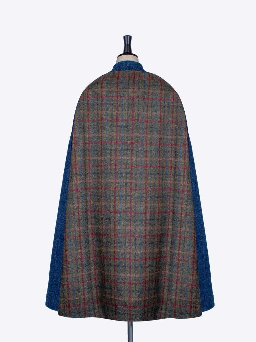 Green and navy blue Harris Tweed wool Nehru long cape