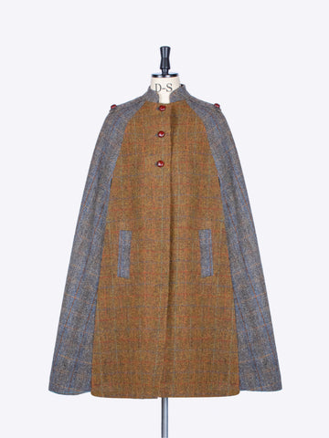 Rust and Sage Harris Tweed wool Nehru long cape