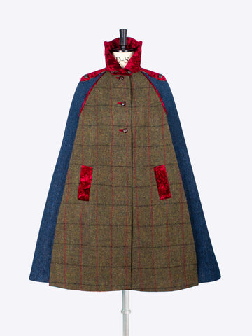 British fashion label - country style handwoven wool cape with velvet collar