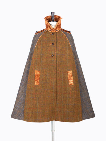 heritage style brown and gray wool cape