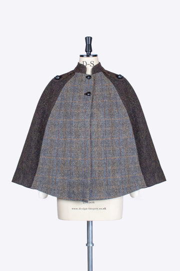 Sage and Chocolate Harris Tweed country ladies cape