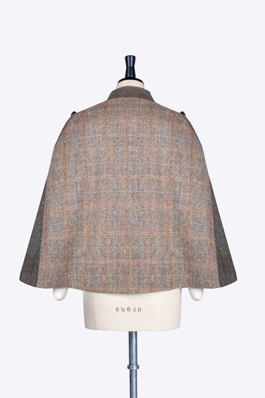 Beige and moss green Harris Tweed luxury cape