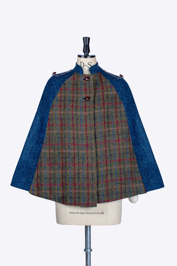 Green and Navy blue Harris Tweed patchwork cape